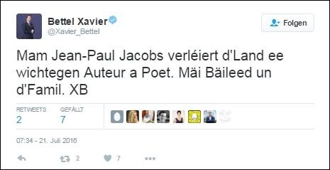 Kondolenz-Tweet des luxemburgischen Premierministers - Screenshot