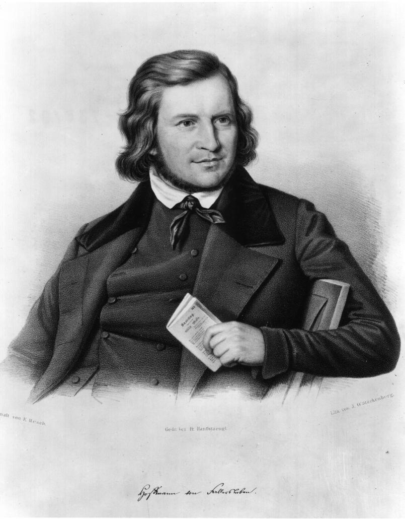 August Heinrich Hoffmann von Fallersleben. Lithographie von John O'Stückenberg, um 1832; nach einem Gemälde von Ernst Resch. - Lizenz: CC BY-NC-SA